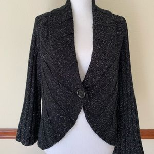 Whbm Black Silver Cardigan with button front large